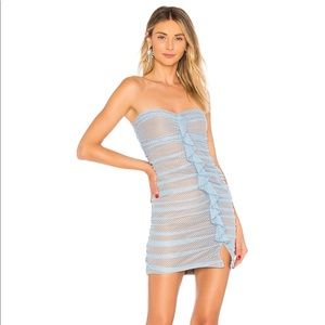 Light Blue Ruched Lace Dress
